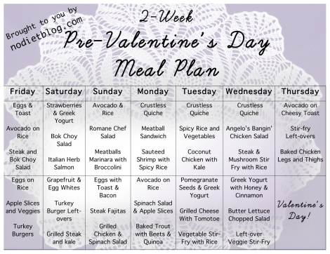 2 week pre Valentines day meal plan